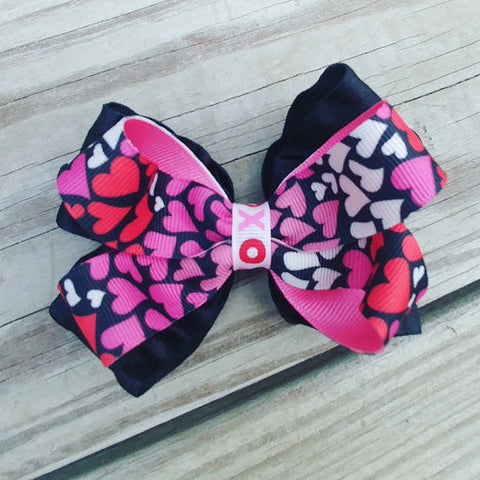Hearts Valentine Hair Bow - #QtsyLife  Fashion and Planner Accessories - QtsyLife.com