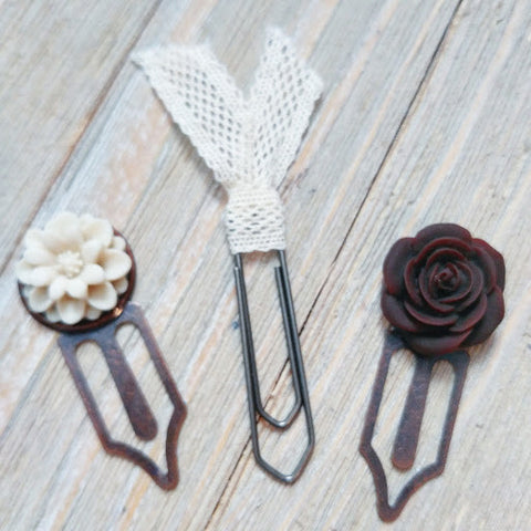 Planner clip set of three cream and brown flower with lace flag