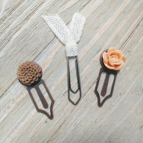 Earthtones Floral Planner Page Clip Bookmarks