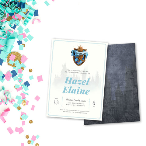 Ravenclaw Customized Printable Party Invitation - Digital Download
