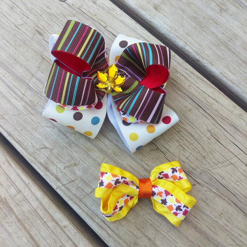 Red Fall Stripes Hair Bow Gift Set - #QtsyLife  Fashion and Planner Accessories - QtsyLife.com