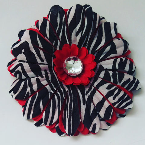 Red Zebra Daisy Hair Flower - #QtsyLife  Fashion and Planner Accessories - QtsyLife.com