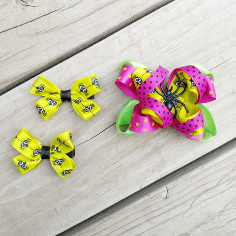Spiders & Skulls Halloween Hair Bow Set - #QtsyLife  Fashion and Planner Accessories - QtsyLife.com