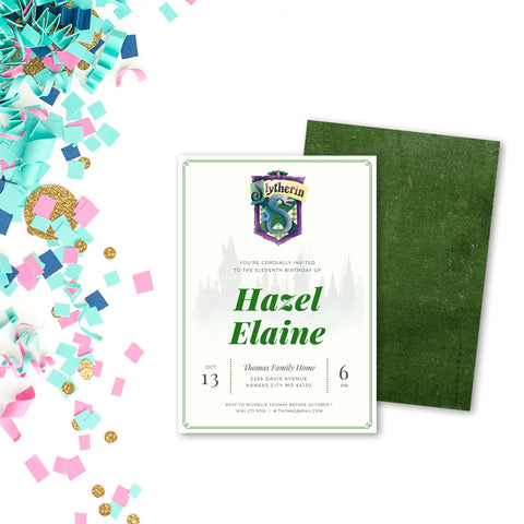 Slytherin Customized Printable Party Invitation - Digital Download