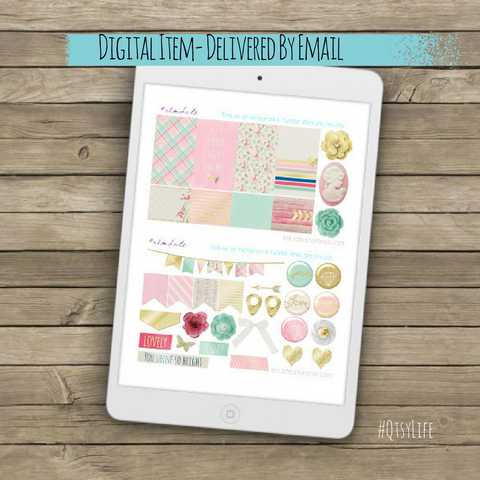 Soft Bling Glittery Printable Planner Stickers by QtsyLife on QtsyLife.com