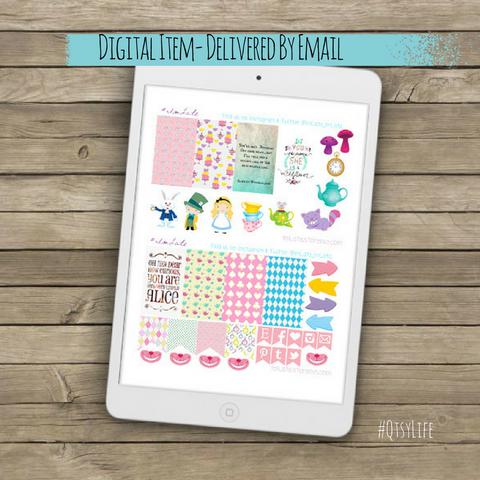 Alice in Wonderland Printable Planner Stickers by QtsyLife on QtsyLife.com