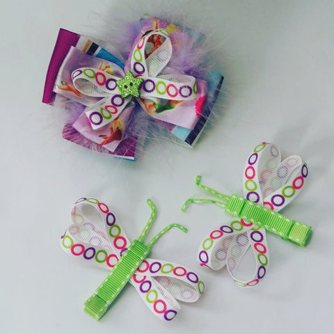 Tinkerbell with Dragonflies Hair Bow Gift Set - #QtsyLife  Fashion and Planner Accessories - QtsyLife.com