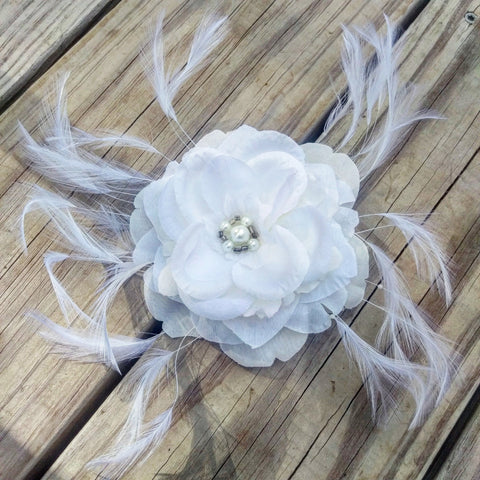 Big Feathered Rose Bridal Hair Flower - #QtsyLife  Fashion and Planner Accessories - QtsyLife.com