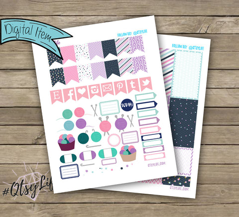 Yarn Arts Printable Planner Stickers - BIG Happy Planner Size