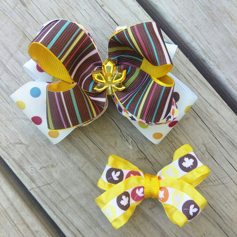 Yellow Fall Stripe Hair Bow Gift Set - #QtsyLife  Fashion and Planner Accessories - QtsyLife.com