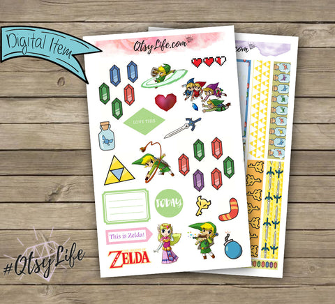 Zelda Printable Planner Stickers - The Classic Happy Planner