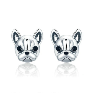 Sterling Silver  French Bulldog Dog Stud Earring