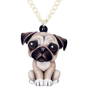 Acrylic Sweet Sitting French Bulldog Necklace