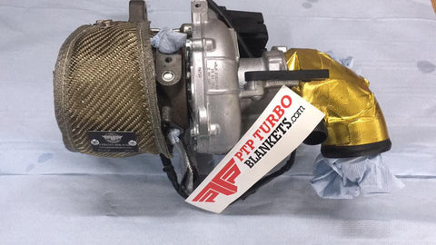 An IS38 PTP Turbo Blanket installed on an OEM MKVII 2.0 third generation engine for Audi and Volkswagen.