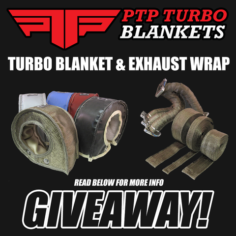 The graphic for our Instagram contest, offering a turbo blanket of choice and exhaust wrap to two lucky winners chosen at random.