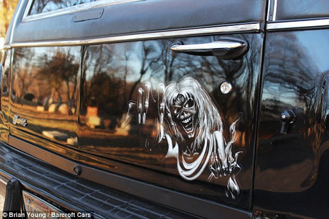 "Eddie from Iron Maiden's Album ""Number of the Beast"" depicted hear on the back hatch of the AMS Performance ""Madness"" Hearse."