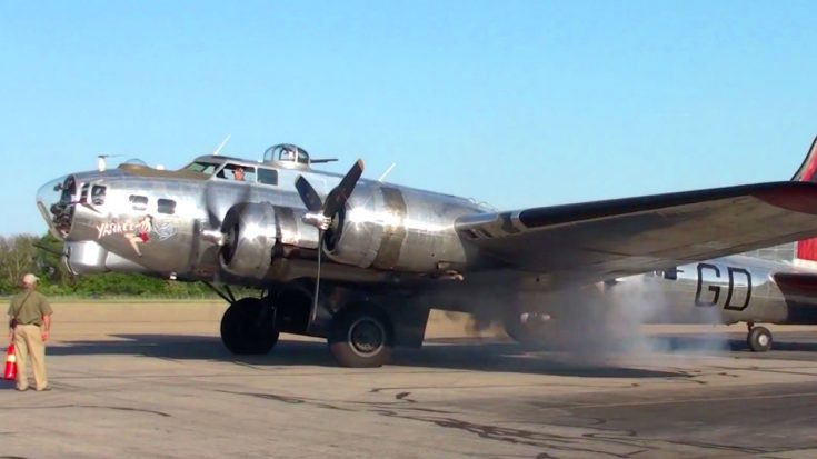 Tremendous Shining B-17 Rumbles Its Smokey Engine - Damn, That's Loud | Frontline Videos