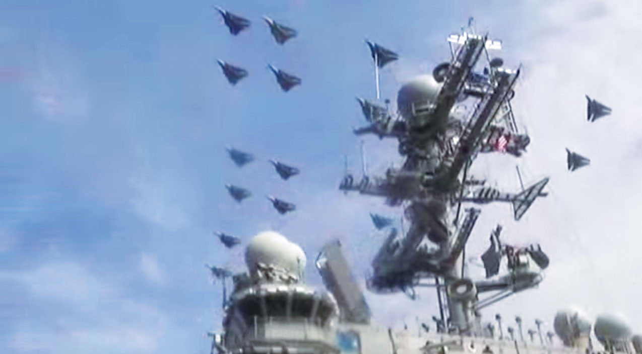 The Incredible Sound And Sight Of 22 F-14 Tomcats Flying Over The Deck Crew | Frontline Videos