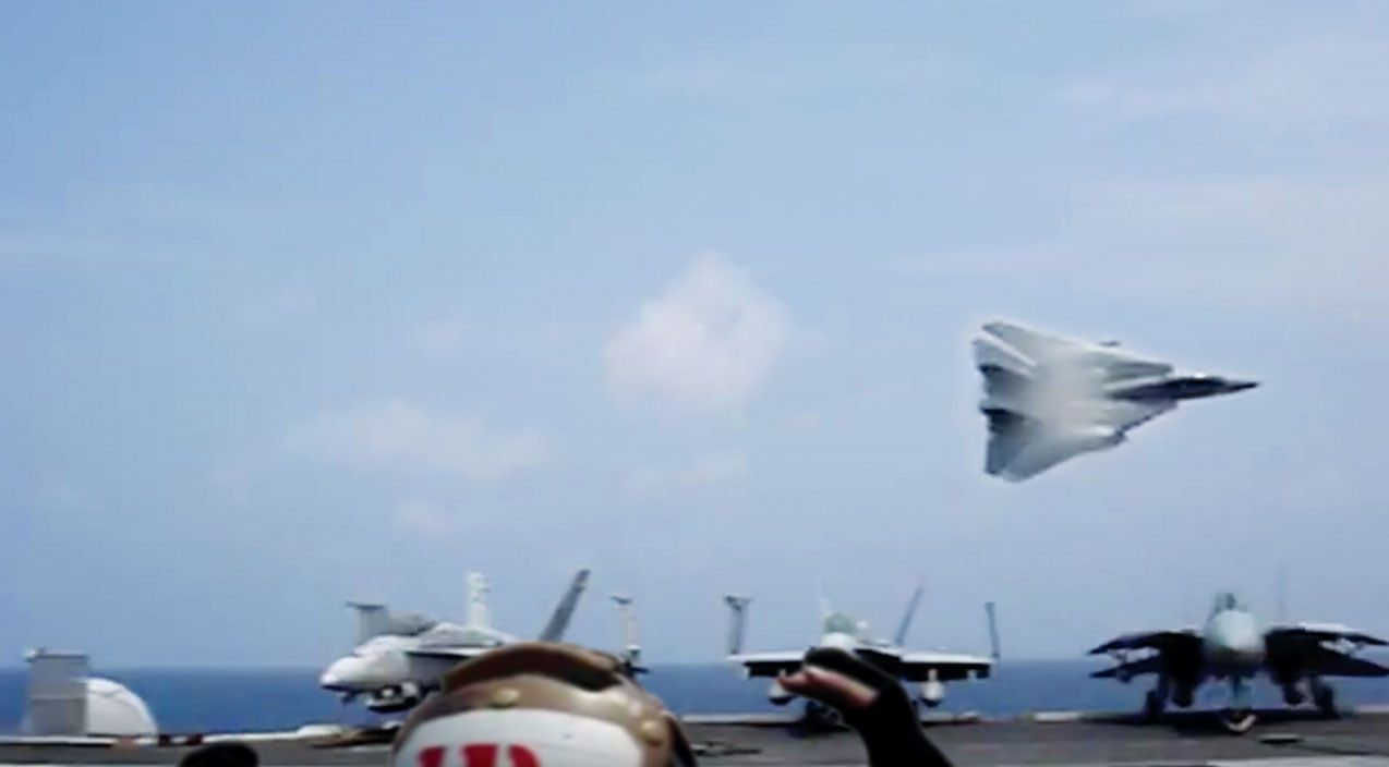 Low Songs | F-14 Tomcat Driver Makes A Crazy Bank Right Over The Deck | Frontline Videos