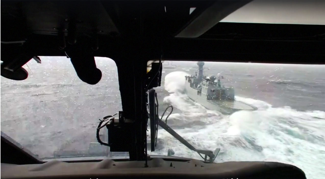 Navy Songs | Interior/Exterior View Of Heli Landing On Extremely Rough Seas | Frontline Videos