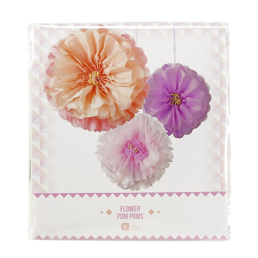 Party at Home - Blush Flower Hanging Pom Poms