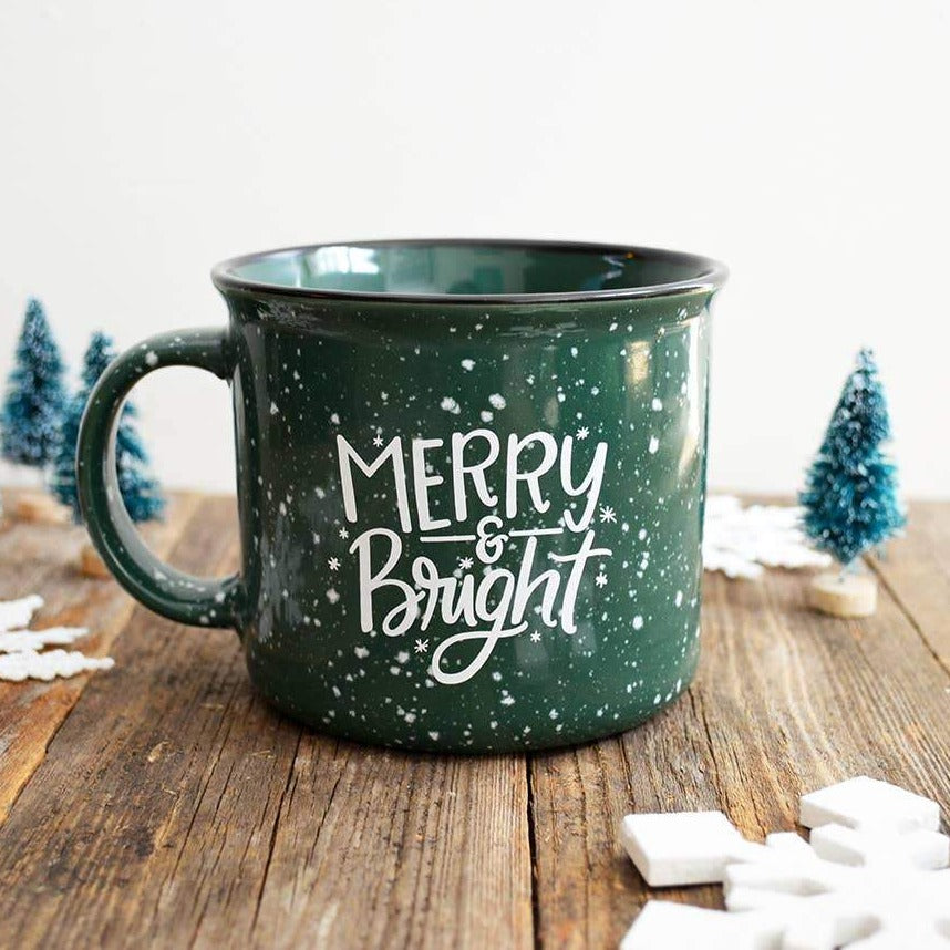"""Merry & Bright"" Ceramic Holiday Mug"