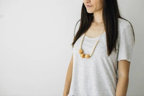 The Austin - Cream Wooden Teething Necklace