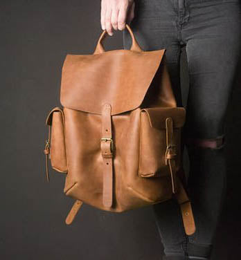 Tan Leather Strap Backpack - Gender neutral