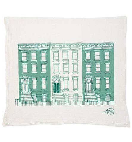 Teal Boston Brownstone Tea Towel
