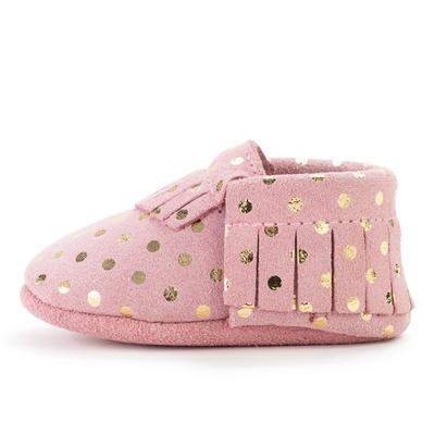 Pink Confetti Leather Baby Moccasins
