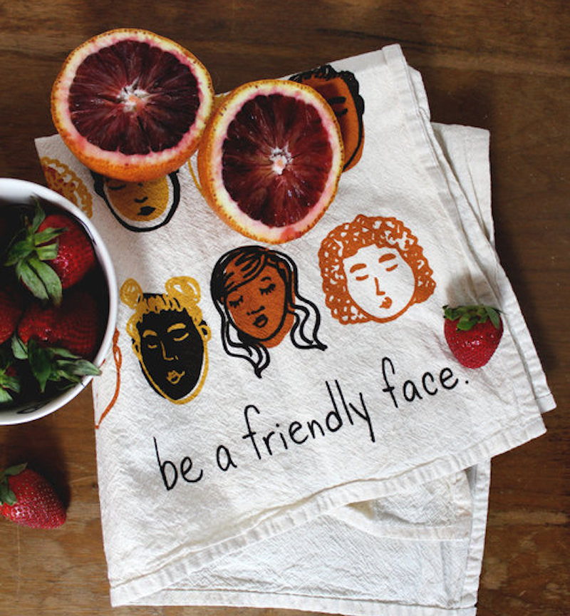 Friendly Faces Printed Dish Towel