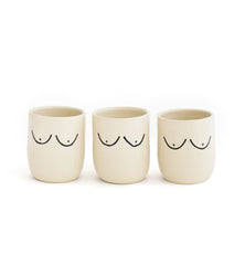 3 boob mugs in a line