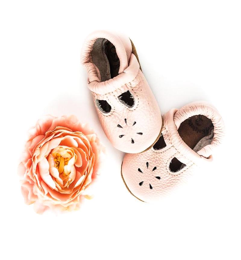 Rose Blush Leather T-Strap Baby Booties