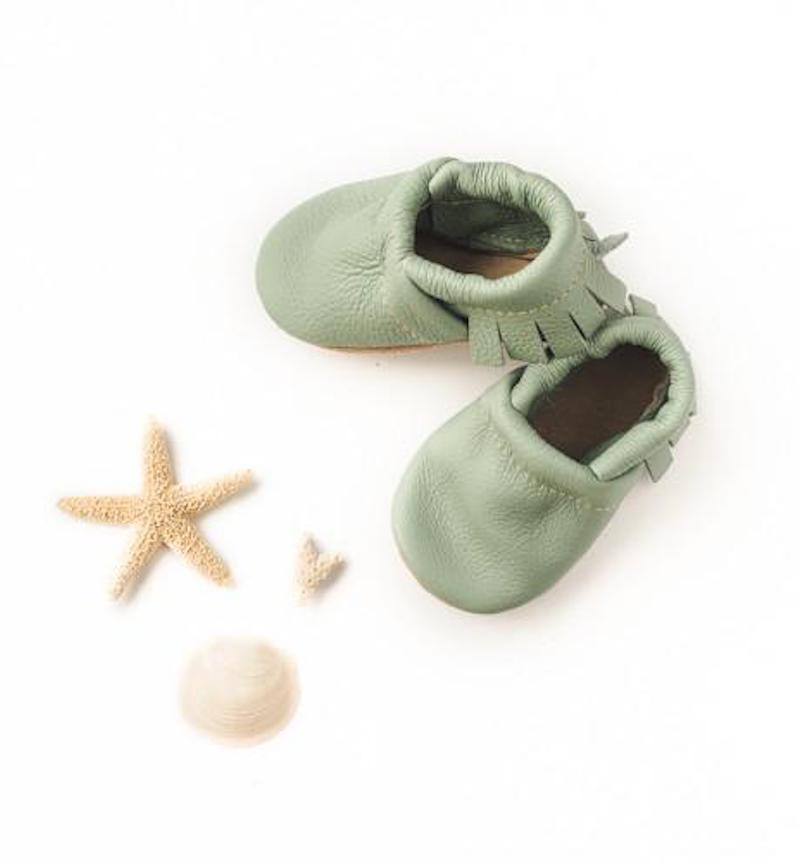 Mint Fringe Leather Baby Booties