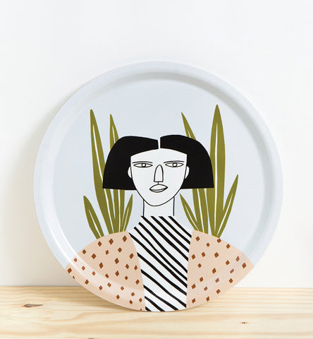 Woman Blue Tray