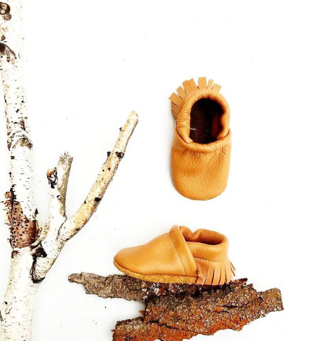 Tan Camel Fringe Leather Baby Booties