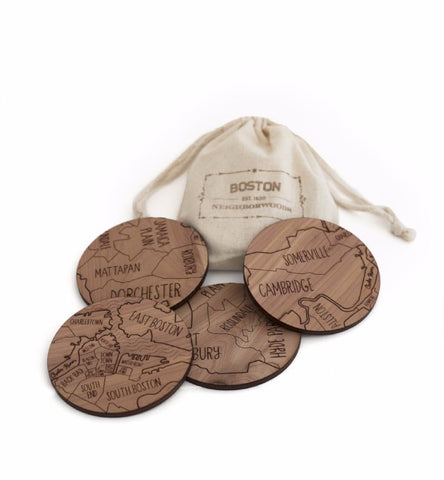 Boston Map Cedar Coasters