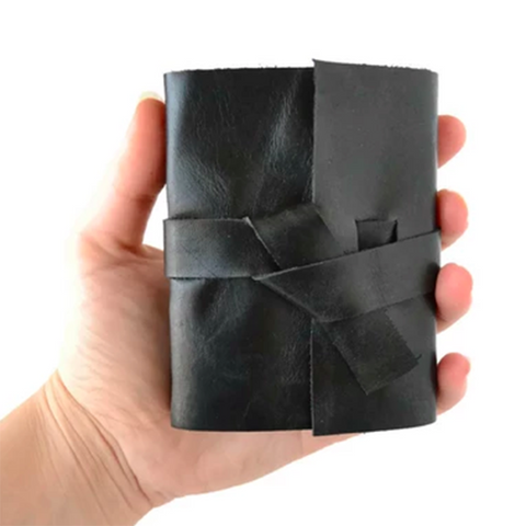Mini Unlined Black Leather Journal