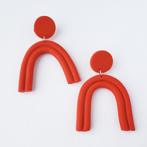 Red Lux Arch Earring