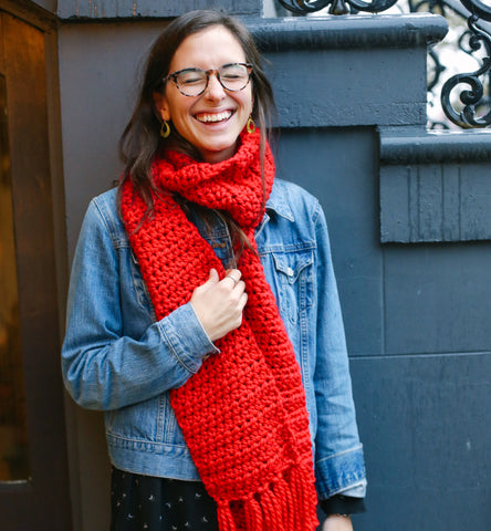 Bright Red Knit Scarf