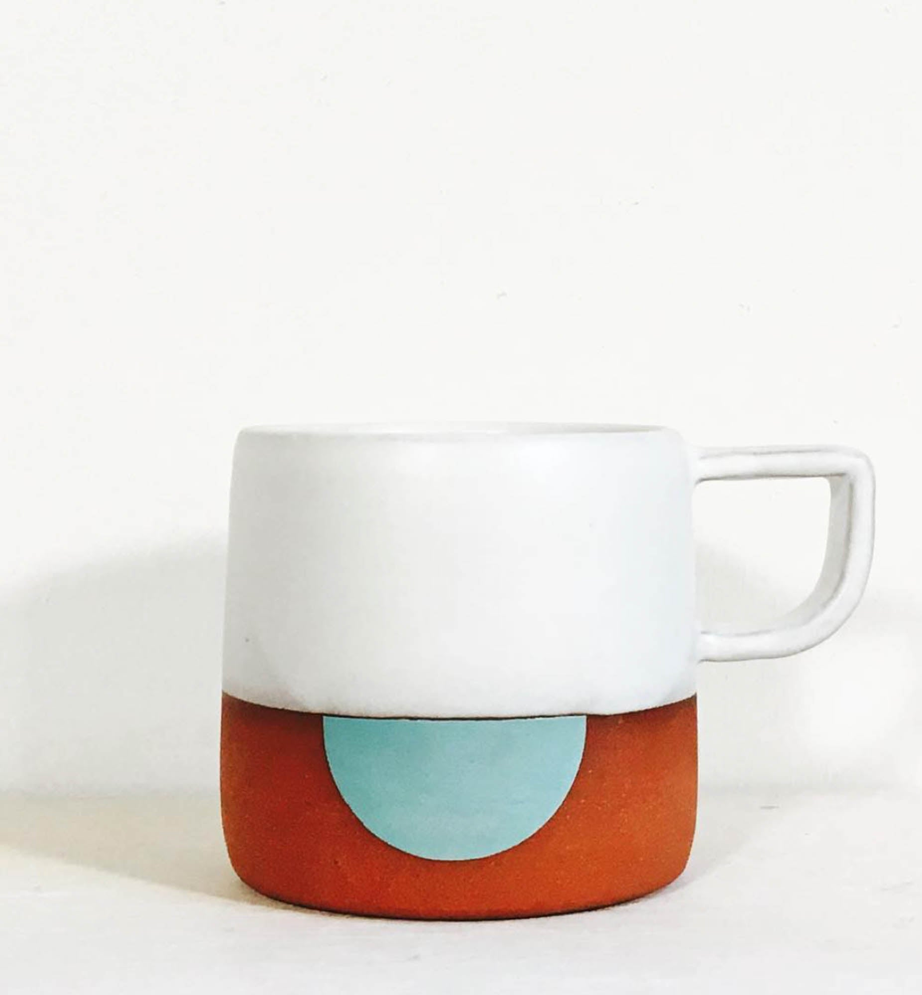 White Half Moon Ceramic Mug
