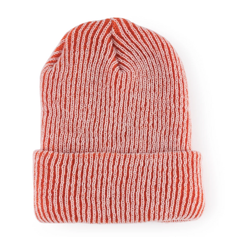 Simple Rib Hat - Red with White Rib