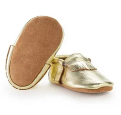 Gold Leather Baby Moccasins