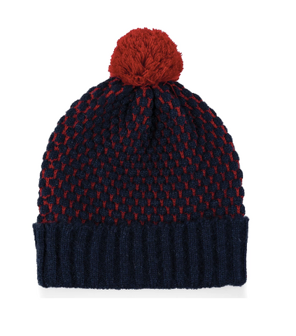 Bobble Hat - Navy and Cranberry