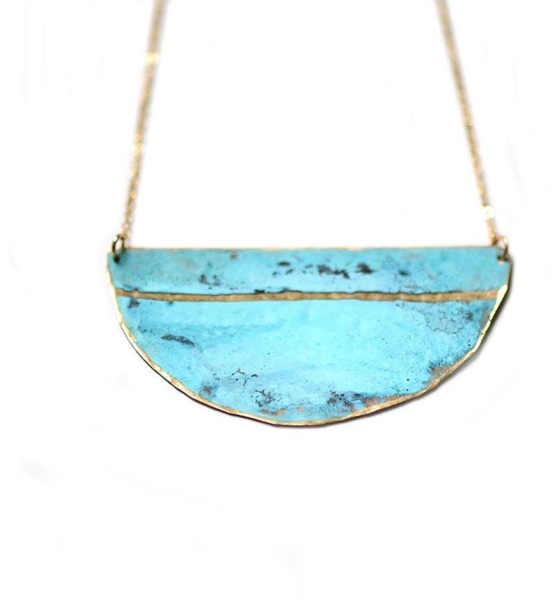 Turquoise Half Circle Necklace