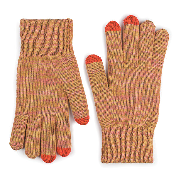 Touchscreen Gloves - camel with coral tips