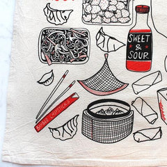 """Thank You and Enjoy"" Black and Red Tea Towel"
