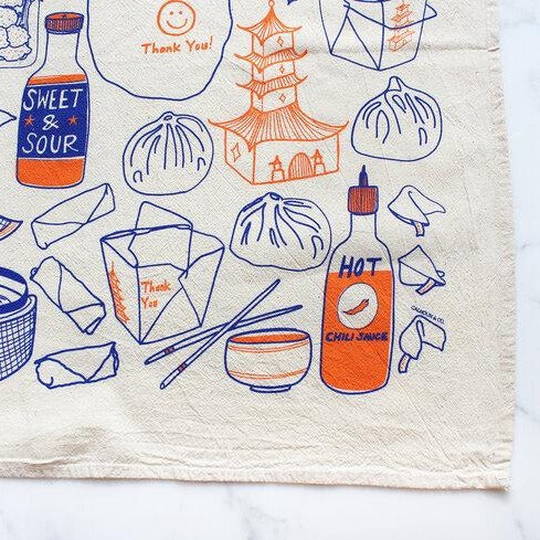 """Thank You and Enjoy"" Blue and Orange Tea Towel"
