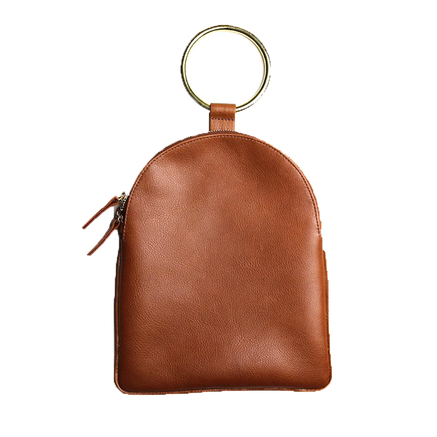 Tan Leather Ring Clutch