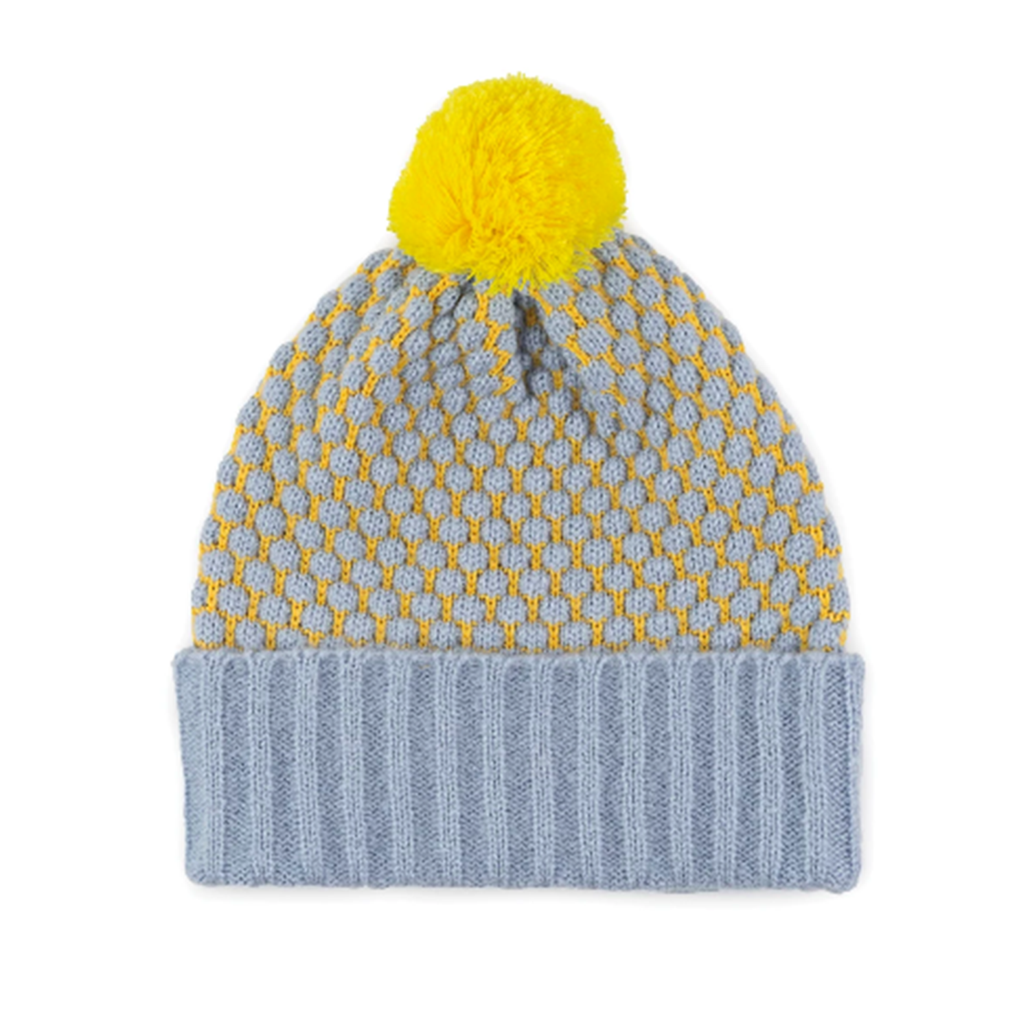 Bobble Hat- stone blue and yellow